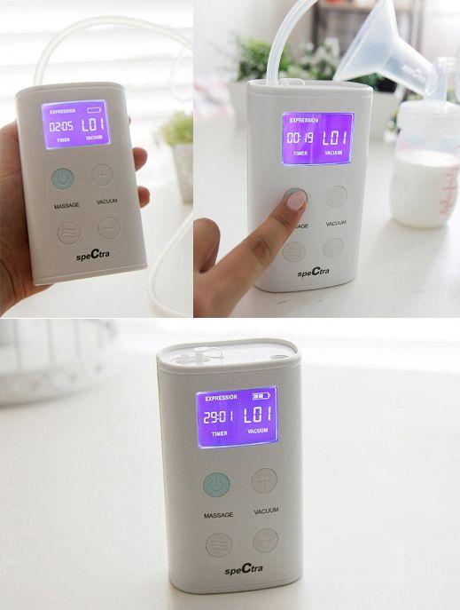Máy hút sữa Spectra 9 Plus có màn hình LCD hiển thị các cấp độ hút, thời gian hút và chế độ massage
