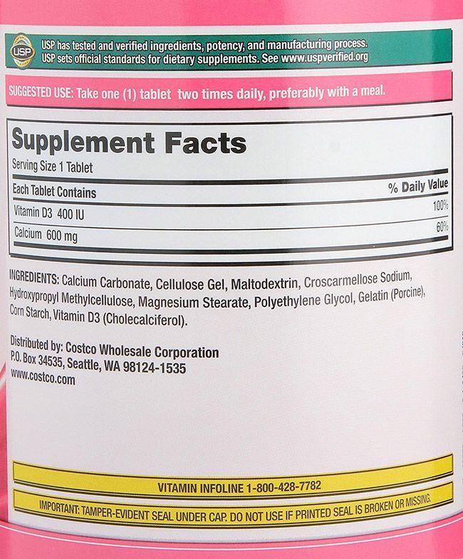 Thành phần có trong viên uống bổ sung Calcium 600mg+D3