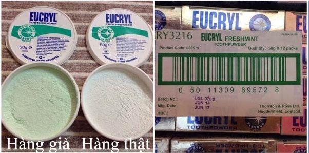 Cách phân biệt hàng thật hàng giả bột trắng răng Eucryl