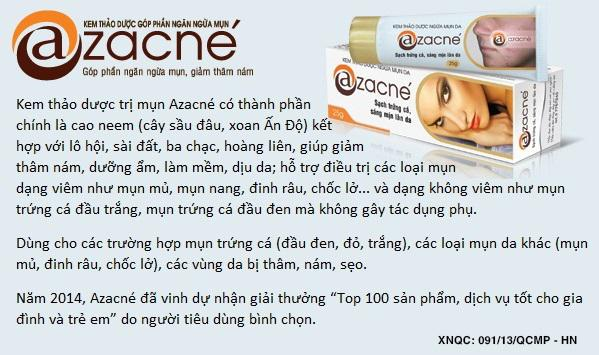 Kem trị mụn Azacne góp phần ngăn ngừa mụn hiệu quả