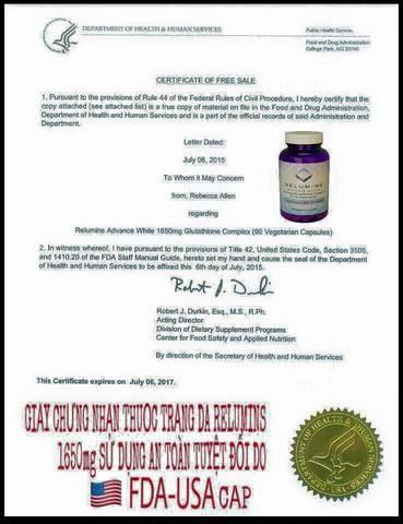 Giấy chứng nhận sản phẩm an toàn không có tác dụng phụ do FDA của Mỹ cung cấp