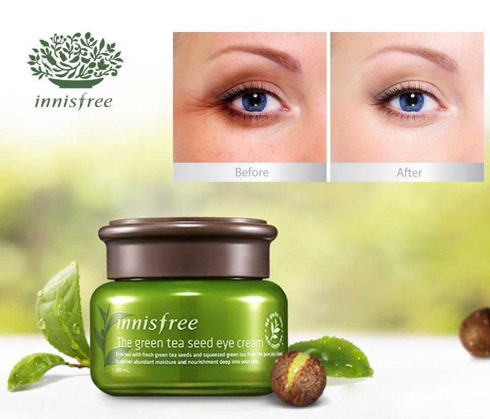 Kem dưỡng mắt trà xanh Innisfree làm mờ nếp nhăn, quầng thâm vùng da quanh mắt