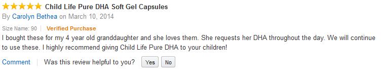 Review của khách hàng sau khi sử dụng sản phẩm ChildLife Pure DHA