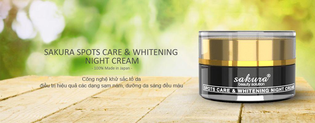 Kem trị nám Sakura ban đêm Whitening Night Cream chiết xuất hoàn toàn từ thảo dược, an toàn cho da
