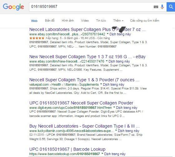 Khách hàng có thể dễ dàng kiểm tra sản phẩm bằng cách check mã vạch trên trang tìm kiếm Google.com