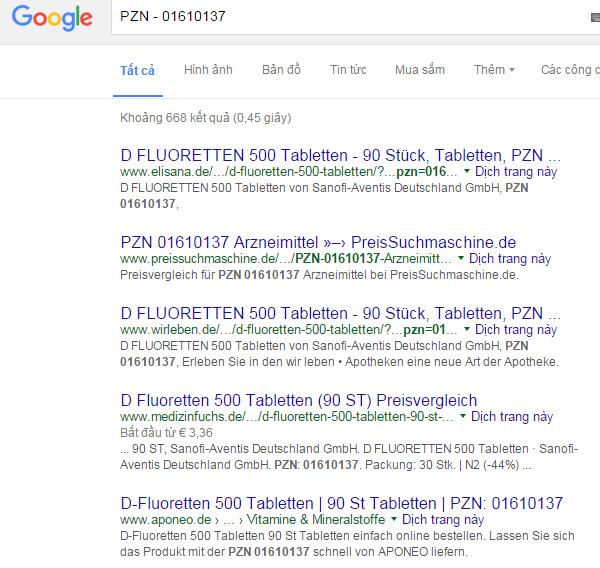 Cách kiểm tra D- Fluoretten 500 I.E thật và giả bằng công cụ tìm kiếm google