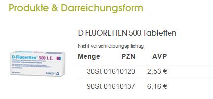 Quy cách mã vạch của D- Fluoretten 500 I.E