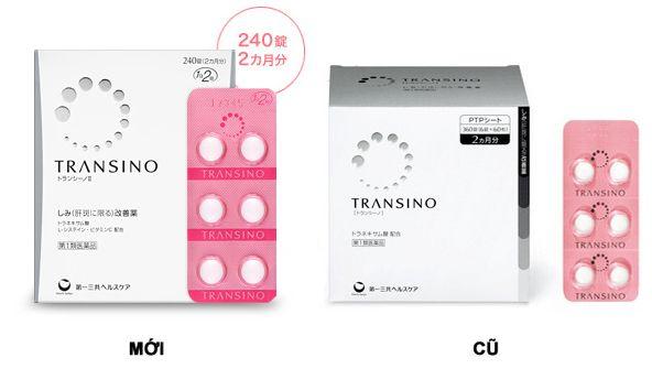 Transino Whitening mẫu mã bao bì mới nhưng chất lượng không đổi