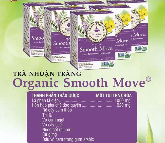 Trà nhuận tràng Organic Smooth Move giúp giảm tình trạng táo bón, kích thích nhuận tràng trong vòng 6- 12 giờ