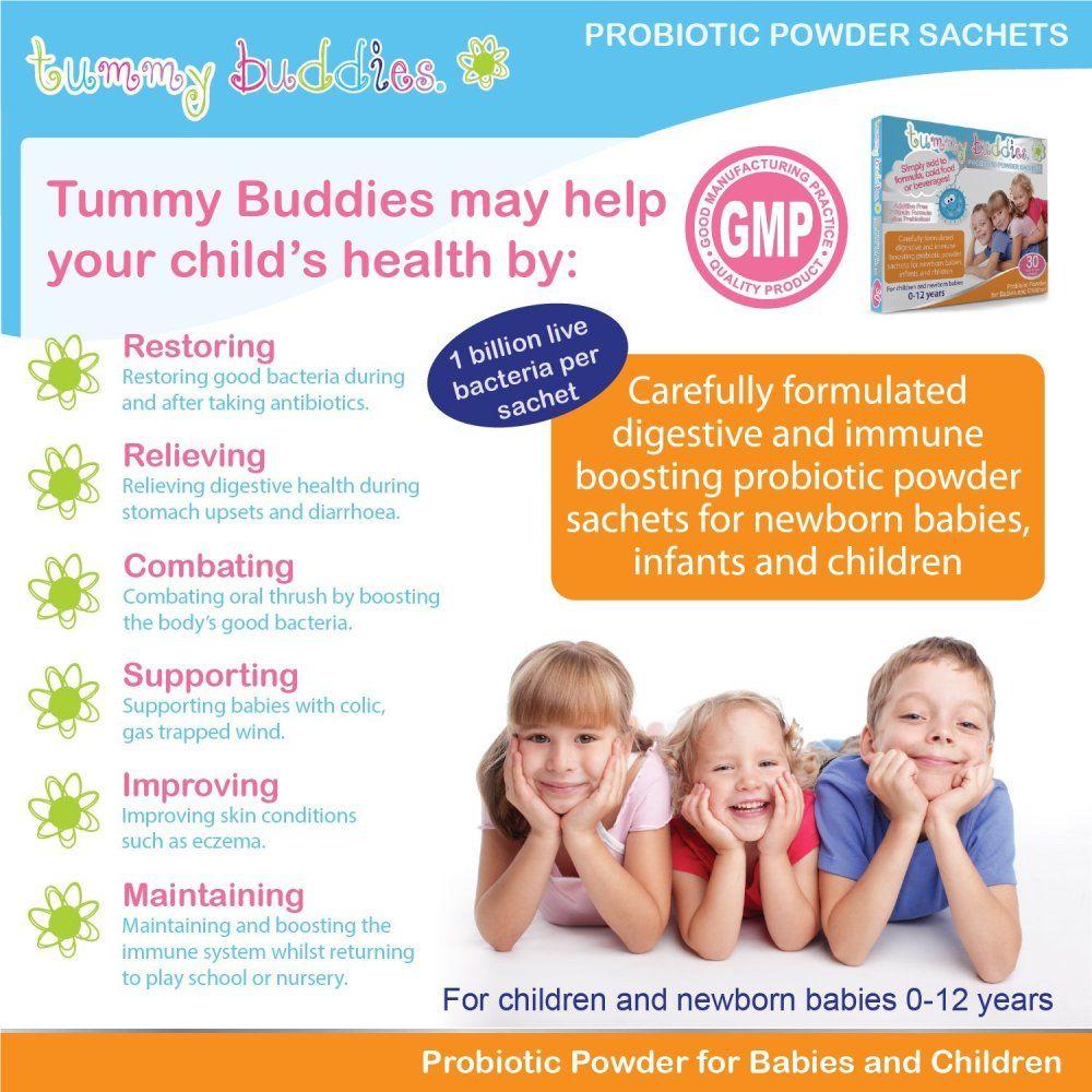 Men vi sinh Tummy Buddies cung cấp các loại chủng vi sinh có lợi, tốt cho hệ tiêu hóa của bé