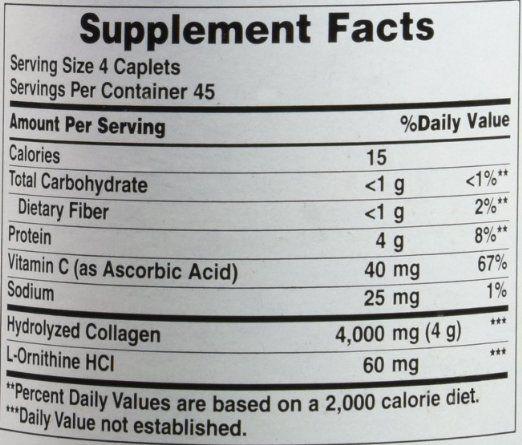 Thành phần dinh dưỡng Collagen thủy phân Puritan's pride hydrolyzed collagen