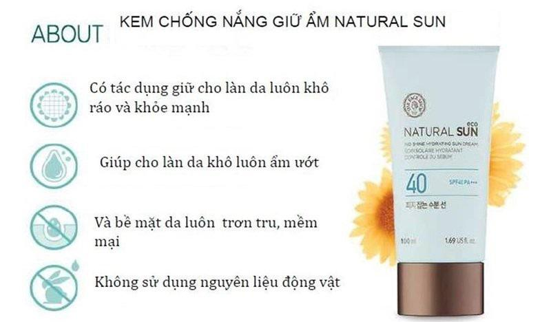 Kem chống nắng The Face Shop Natural Sun SPF40