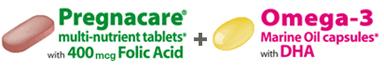 Vitamin bầu Pregnacare Plus Omega 3  gồm 28 viên Pregnacare® multi và 28 viên Omega-3