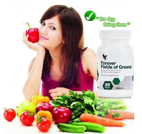 Viên rau xanh Forever Fields of Green cung cấp lượng chất xơ, vitamin, khoáng chất cần thiết giúp cơ thể chuyển hóa tốt