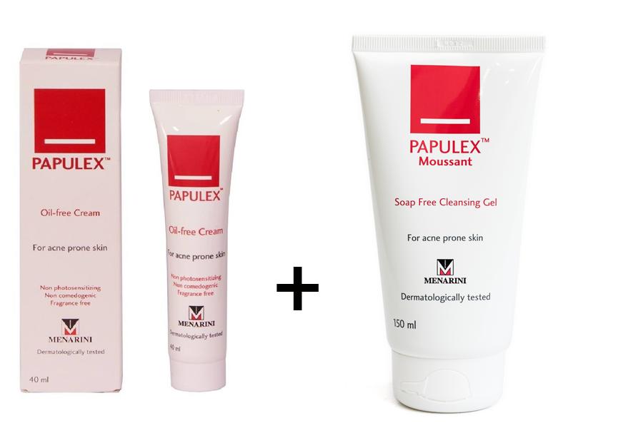 Kết hợp sử dụng kem giảm nhờn Papulex Oil với Sữa rửa mặt trị mụn Papulex Moussant để đạt hiệu quả chăm sóc da, trị mụn tối ưu
