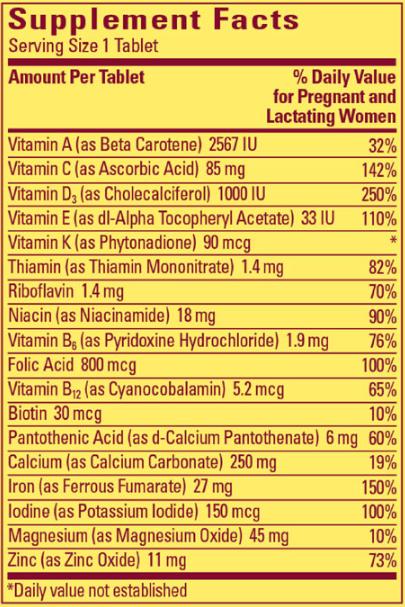 Thành phần viên uống Vitamin tổng hợp cho bà bầu Nature Made Multi Prenatal