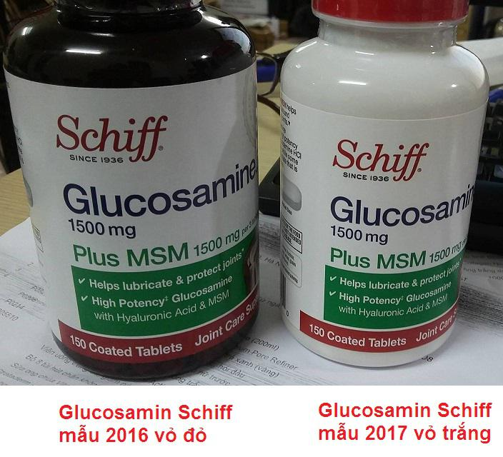 Schiff glucosamine 1500mg Plus MSM 1500mg năm 2016 và 2017 thay đổi mẫu mã và cách sử dụng