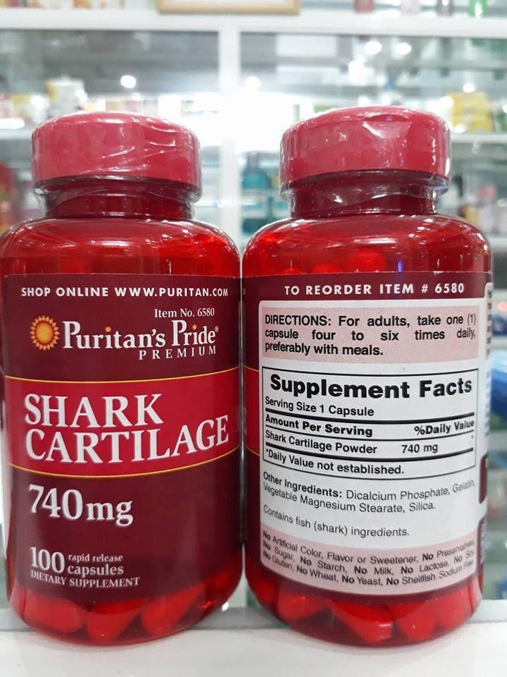 Thành phần Sụn Vi Cá Mập Shark Cartilage Puritan's Pride 740mg