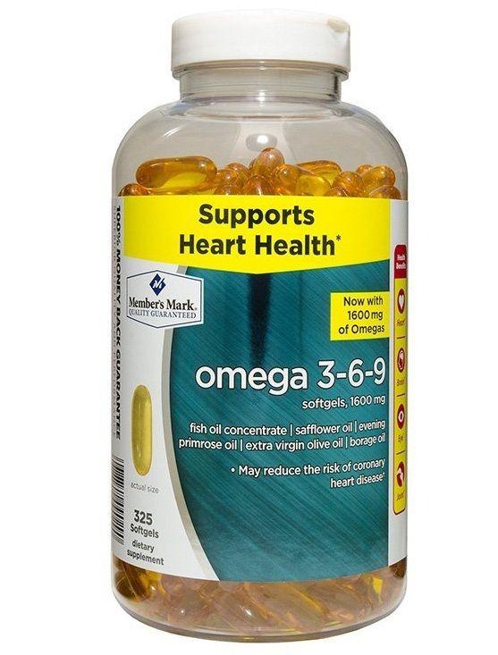 Omega 3 6 9 Member's Mark Supports Heart Health Của Mỹ 325 Viên