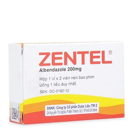 Thuốc tẩy giun sán Zentel 200mg ( 2 viên/ hộp) chưa Albendazole