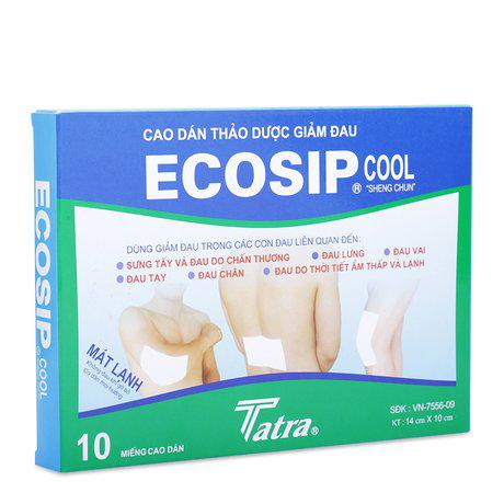 Cao dán thảo dược giảm đau Ecosip Cool(2 gói x 5 miếng/ hộp) 1
