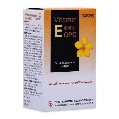 Thuốc điều trị và phòng ngừa thiếu hụt Vitamin E 400IU OPC 1