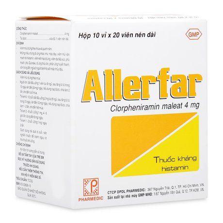 Thuốc trị viêm mũi dị ứng và dị ứng ngoài da Allerfar 4mg 1
