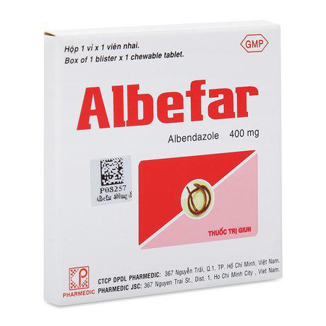 Albefar-Trị giun đũa, giun kim, giun tóc, giun móc,giun lươn 1