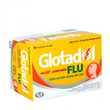 Thuốc hạ sốt, long đờm Glotadon Flu (Hộp 10 vỉ x 10 viên) 1