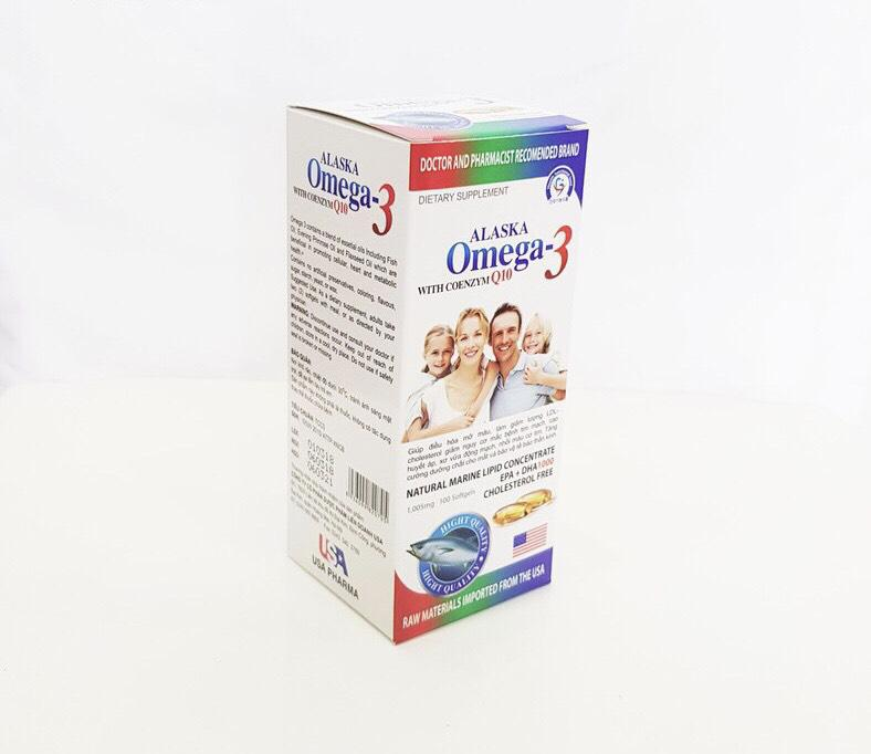 Dầu cá Alaska Omega- 3 with Coenzim Q10 hộp trắng gia đình 1