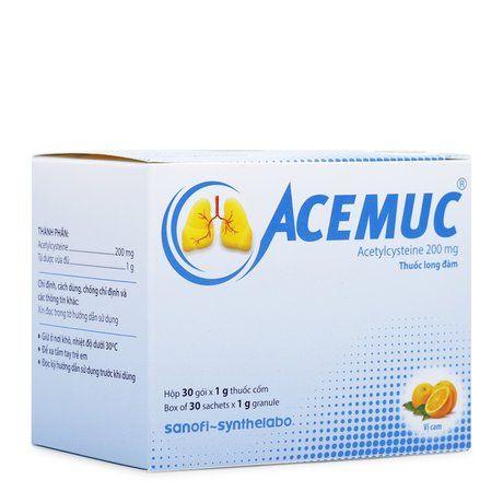 Thuốc tiêu đờm trong bệnh phổi Acemux 200mg( Hộp 30 gói) 1