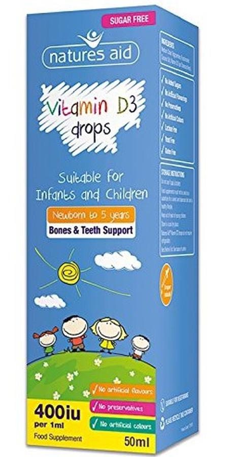 Vitamin D3 Natures Aid 400IU Cho Bé Từ Sơ Sinh Đến 5 Tuổi 1