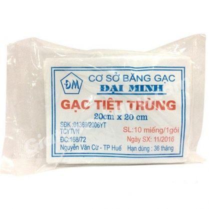 Gạc y tế tiệt trùng Đại Minh gói 10 miếng 20cm x 20cm 1