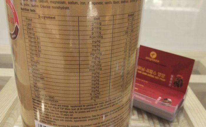 Thành phần chính của sữa Top Mass Gold