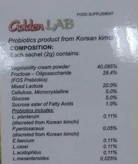 Thành phần Men Vi Sinh Golden Lab Hàn Quốc
