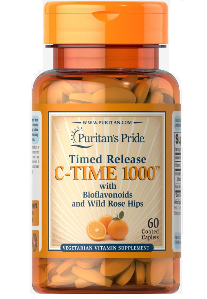 Viên uống bổ sung vitamin C Puritan's Pride Vitamin C 1000mg Timed Release with Rose Hips