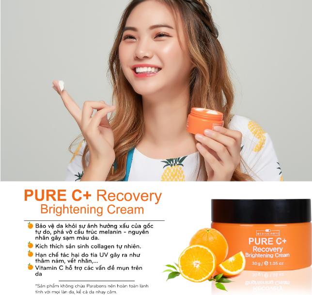 Kem dưỡng trắng da MediskinbyC Pure C+ Recovery Cream Hàn Quốc