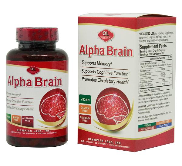 Viên uống bổ não, tăng cường trí nhớ Alpha Brain Olympian Labs