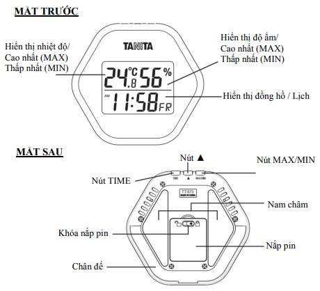 Cấu tạo nhiệt ẩm kế Tanita TT573