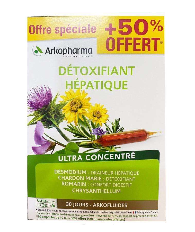 Dung dịch uống hỗ trợ thải độc gan Arkopharma Détoxifiant Hépatique 30 ống