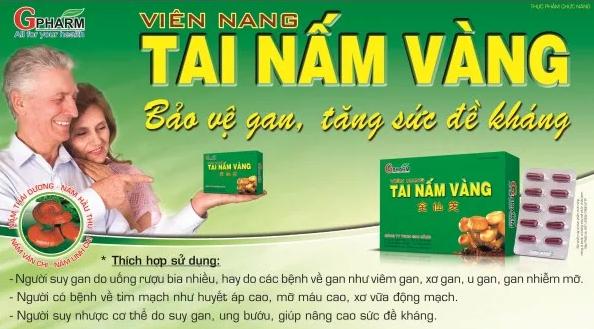 Tai Nấm Vàng GPharm hiệu quả tốt giúp giải độc gan, ăn ngủ tốt