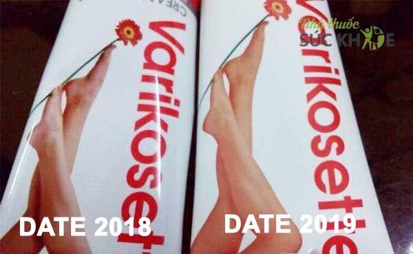 Kem Varikosette date 2018 có vỏ sơn bóng, tuýp kem Varikosette date 2019 có vỏ sơn lì