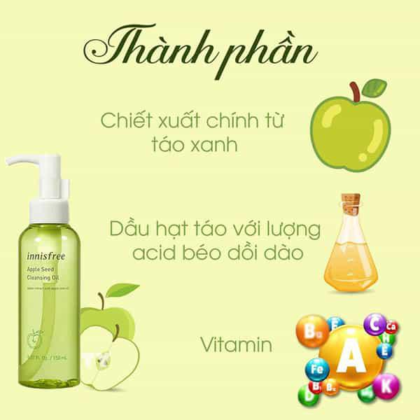 Thành phần Innisfree Apple Seed Cleansing Oil