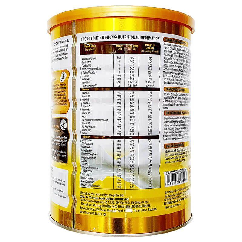 Thông tin dinh dưỡng có trong sữa Nutricare Gastro