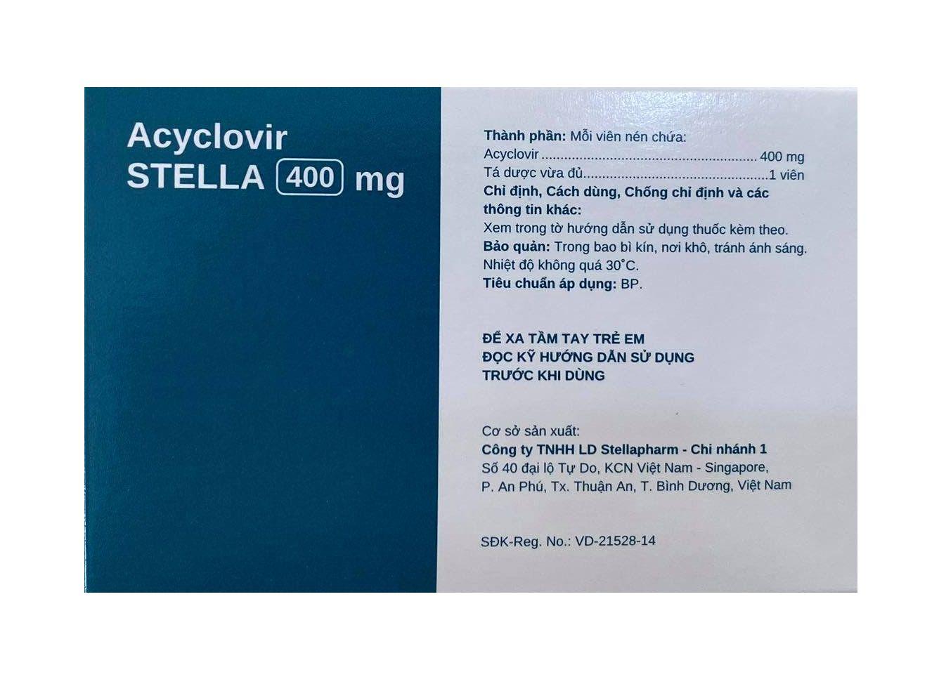 Acyclovir stada 400 mg, thành phần chínhAcyclovir