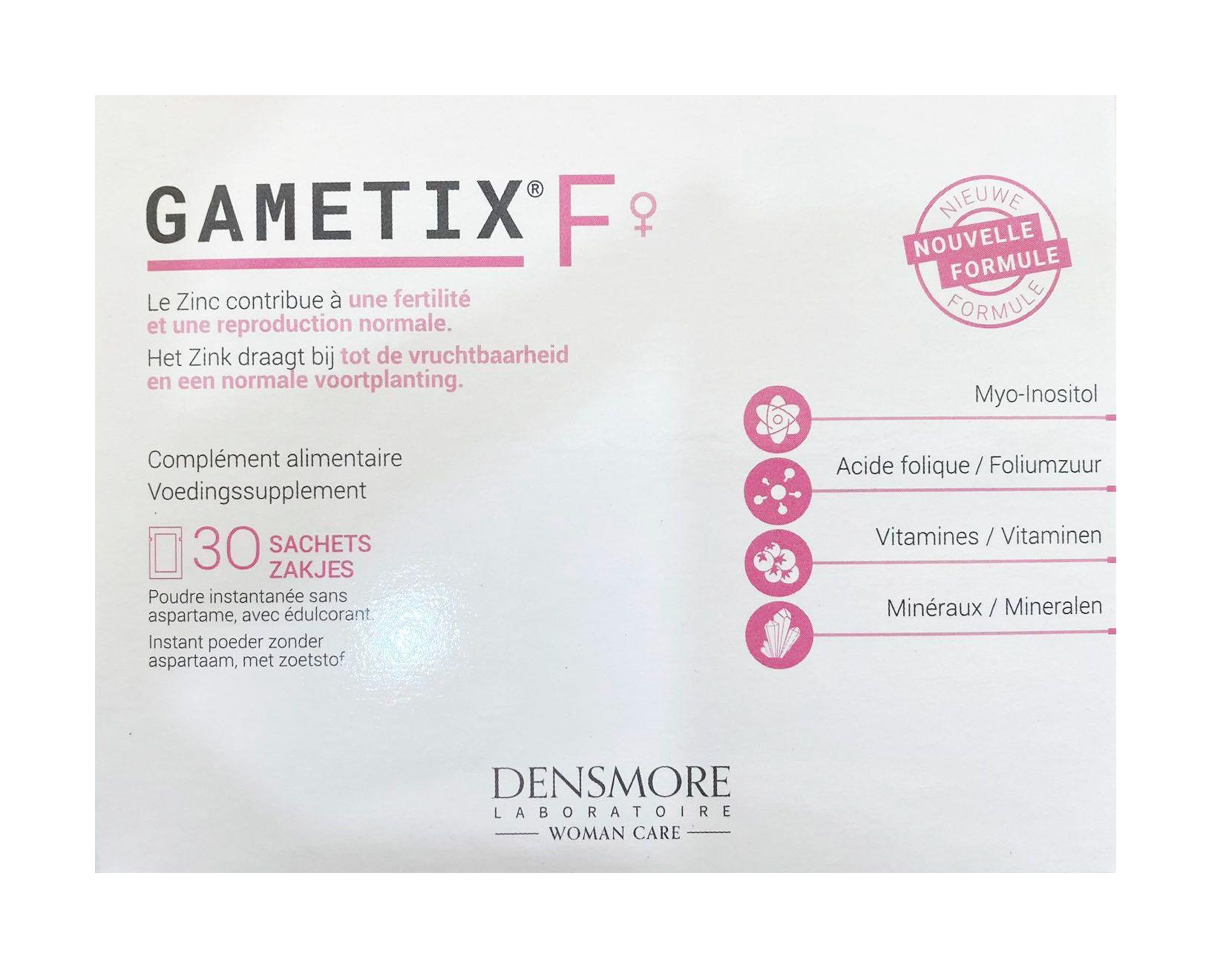 Gametix F của Pháp hỗ trợ tăng cường khả năng thụ thai tự nhiên ở nữ giới, hộp 30 gói
