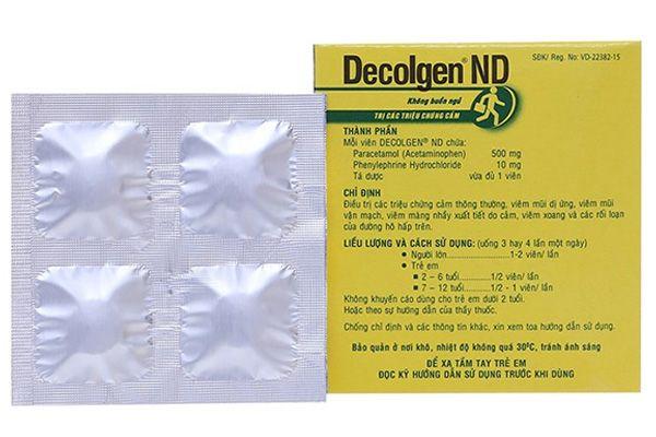 Thành phần thuốc cảm Decolgen ND