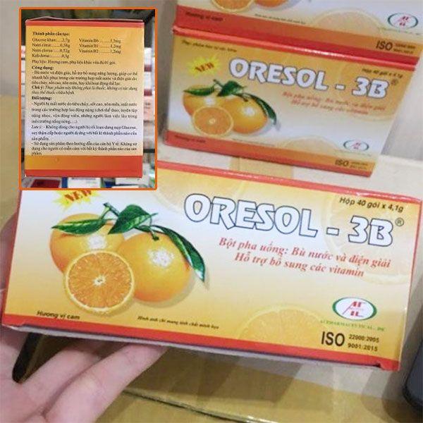 Thành phần Bột pha uống Oresol 3B hương cam- Hỗ trợ bổ sung vitamin
