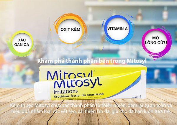 Thành phần Mitosyl - kem bôi da trị sẹo thâm, bỏng, hăm tã cho mẹ và bé