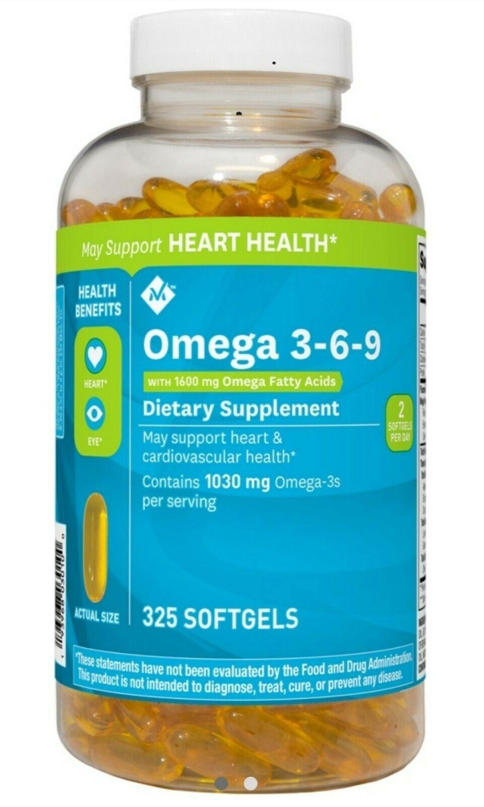 Viên uống dầu cá Omega 3 6 9 Member's Mark Supports Heart Health Của Mỹ 325 viên (nắp trắng)